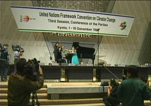 Members of the UNITED WORLD PHILHARMONIC in Kyoto 1997 at the UN-CONVENTION ON CLIMATE CHANGE